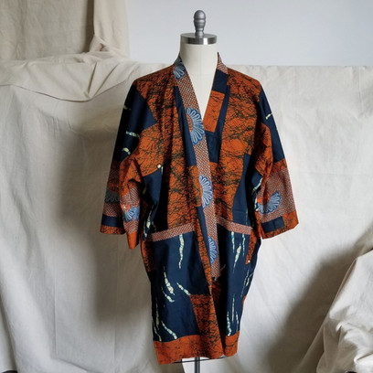 Kimono in mixed African wax cottons