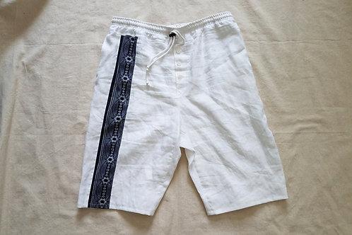 White Linen Long Shorts w/Tribal Stripe