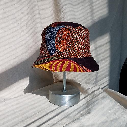 Reversible Bucket Hat-Orange Mixed Prints/Lime Print