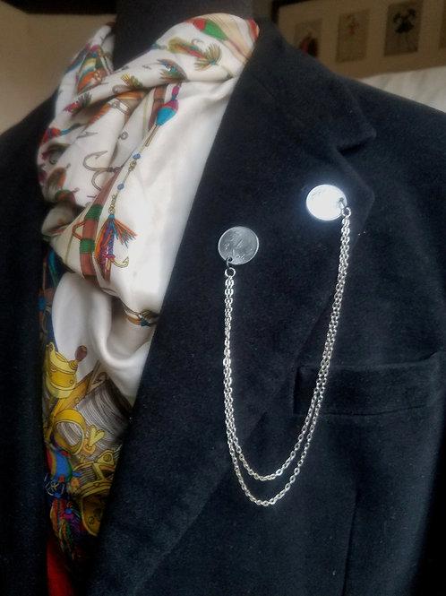 Silver Coins Lapel Pin