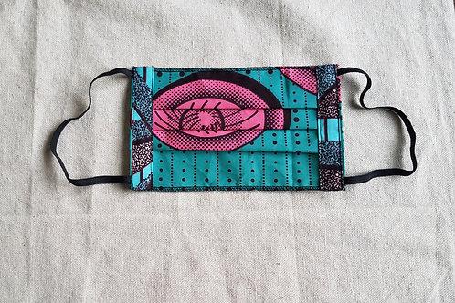 Rona Mask-Aqua/Pink Pattern