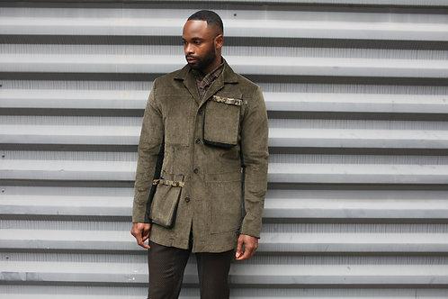 Corduroy Blazer w/Belted Gusset Pockets
