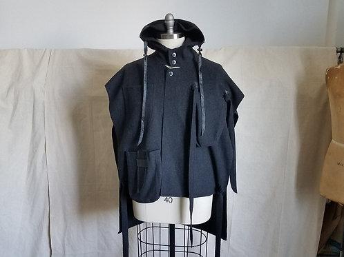Hooded Poncho Vest w/Multi-Pockets & Ties