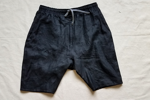 Black Linen Dropcrotch Shorts