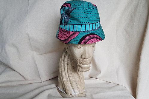 Reversible Bucket Hat-Pink Aqua Print/Black on Black Print