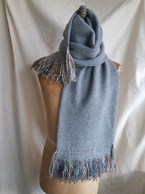 Wool Knit Scarf w/Blanket Stitching/Fringe
