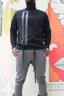 Turtleneck Pullover w/leather placket & wool lacing