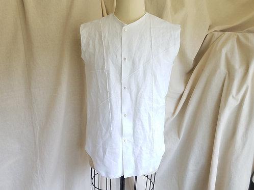Collarless Pincord Sleeveless Shirt-Linen