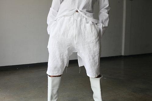 White Linen Dropcrotch Shorts