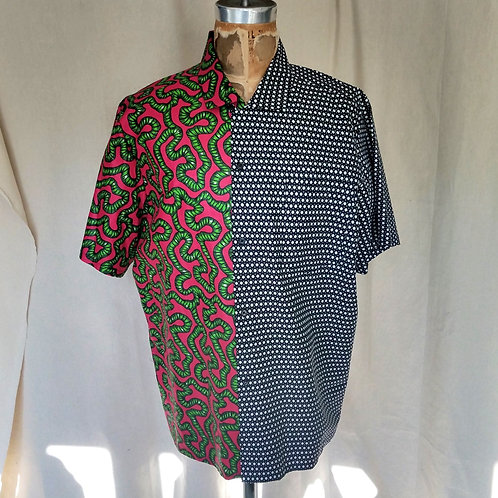 Pink/Black Wax Split Camp Shirt