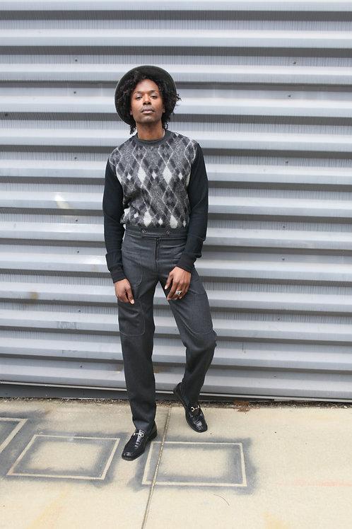 Crewneck Sweater Vest w/raw-cut edges