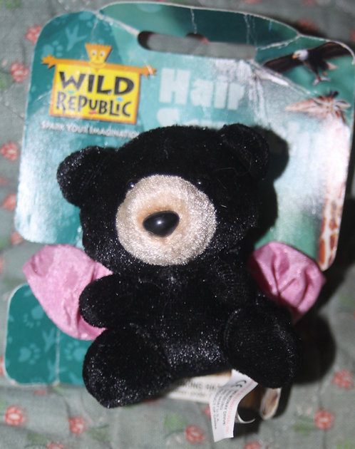 Chouchou rose avec ours noir