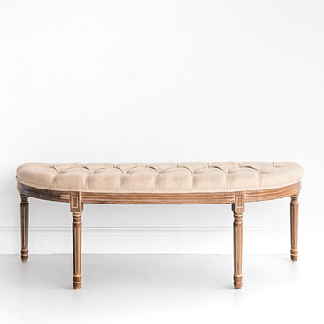 Black and Light Studio Ivory Linen Tufted Curved Bench