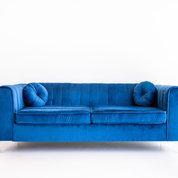 Black and Light Studio Sapphire Velvet Tuxedo Couch