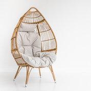 Black and Light Studio Wicker Egg Chair