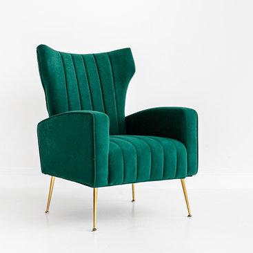 Black and Light Studio Emerald Velvet Wingback Chair