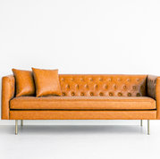 Black and Light Studio Honeytan Leather Couch