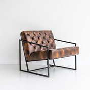 Black and Light Studio Bomber Leather Chair
