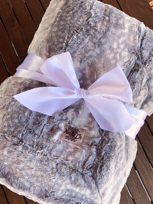 SILVER BLUE FAWN COUTURE THROW