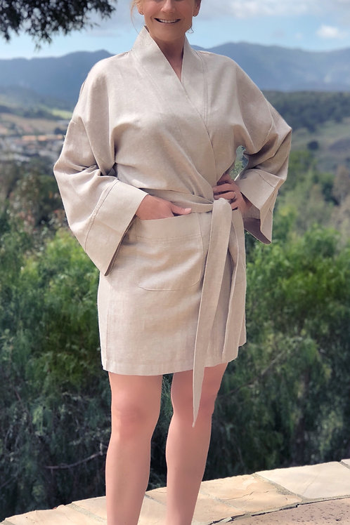 STONE LUXE LINEN SHORTY ROBE