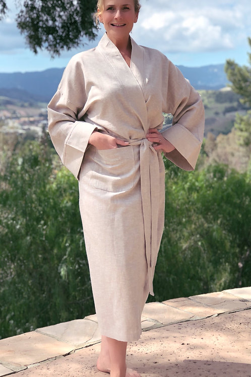 STONE LUXE LINEN LONG ROBE
