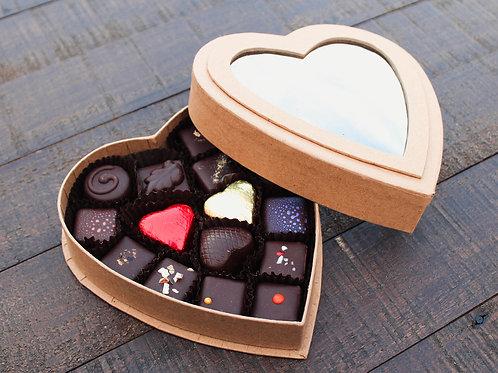 Kraft Heart Window Box (15 Piece)