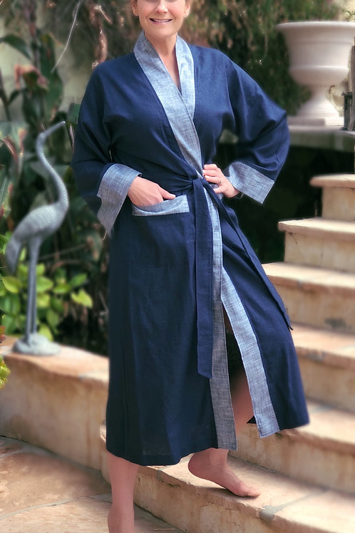 NAVY LUXE LINEN LONG ROBE