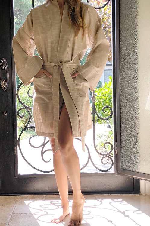 RAFFIA METALLIC LINEN SHORTY ROBE