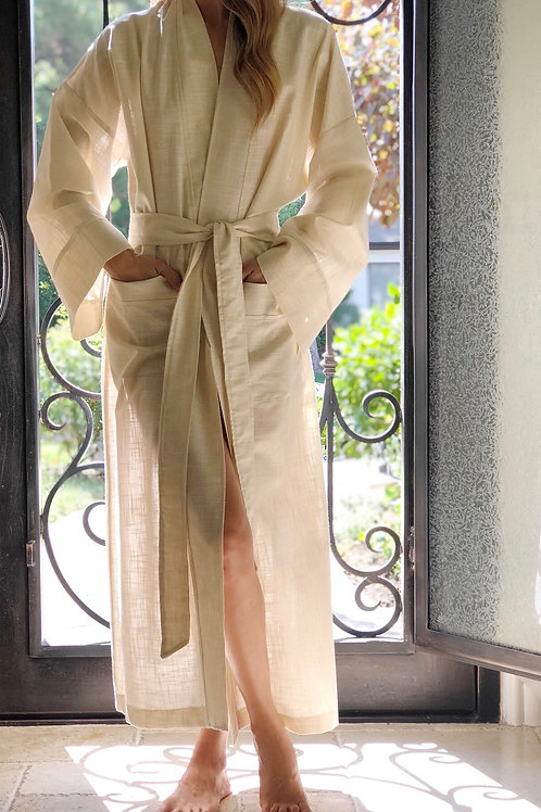 EGGSHELL METALLIC LINEN LONG ROBE
