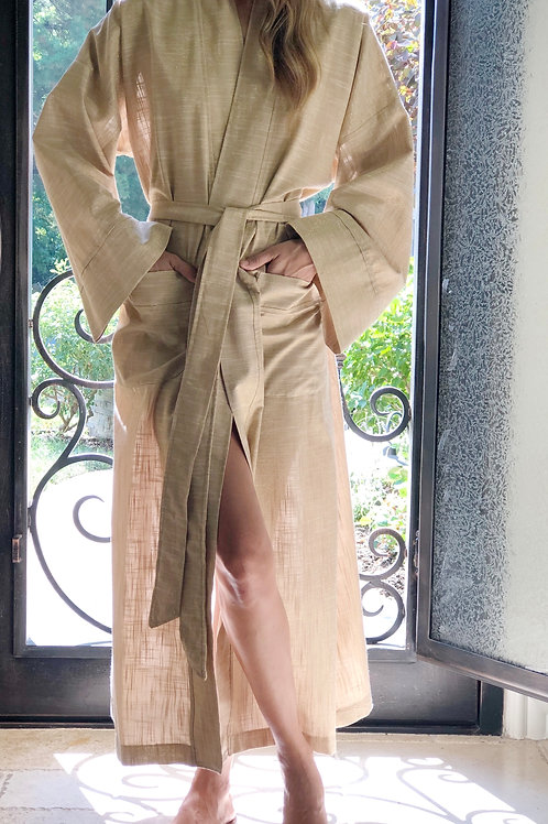RAFFIA LUXE LINEN METALLIC LONG ROBE
