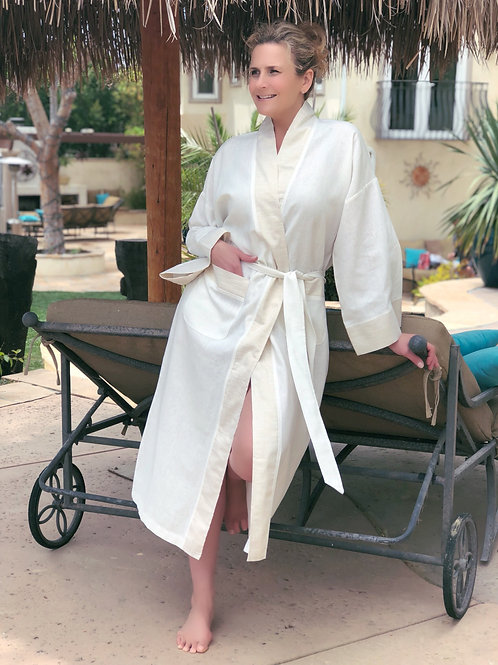 IVORY LUXE LINEN LONG ROBE