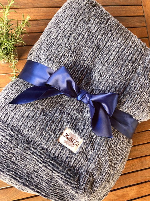 NAVY WEAVE COUTURE THROW