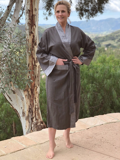 CHARCOAL LUXE LINEN LONG ROBE