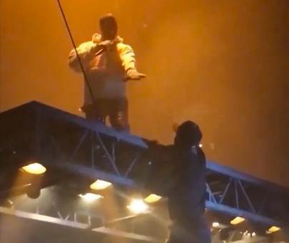 Kanye West Kick Fan Off Floating Stage