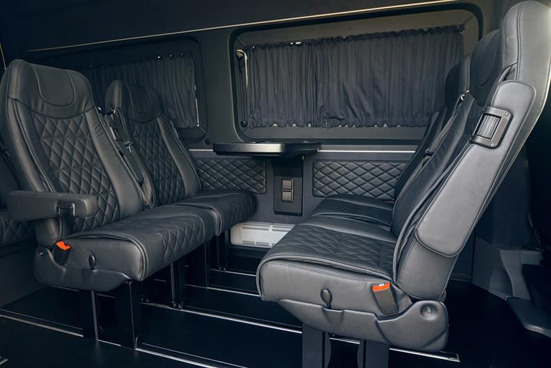 Luxury leather seats in the van. Interio