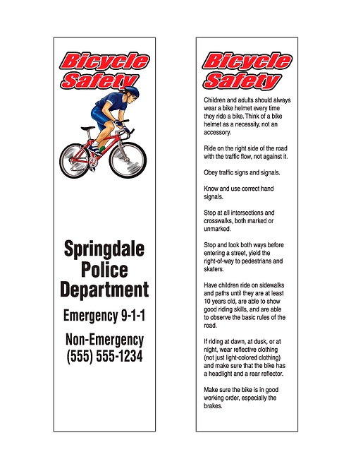 Bicycle Safety Bookmarks