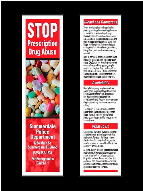 Stop Prescription Drug Abuse Bookmarks