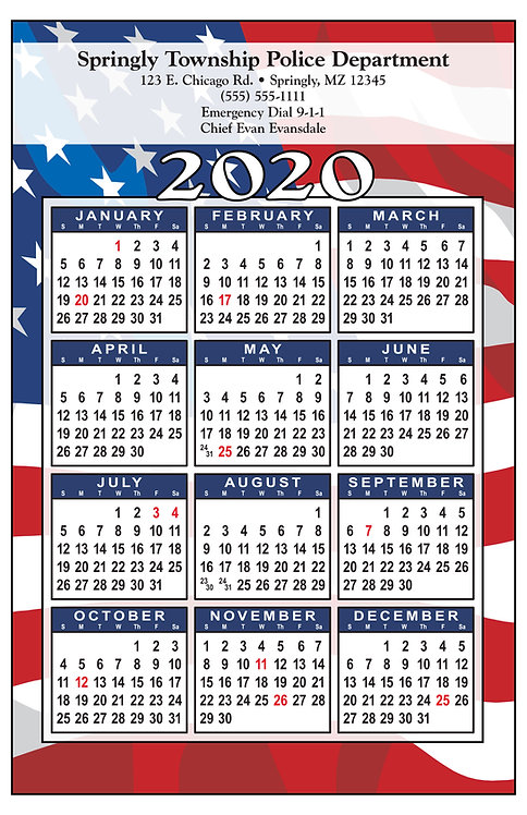 Patriotic Flag Wall Calendar