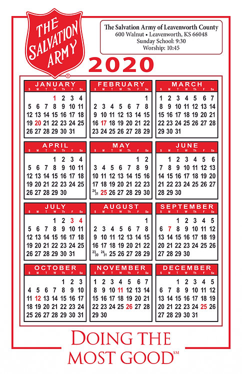 Salvation Army Wall Calendar
