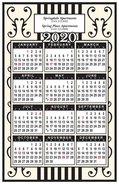 Stripes & Scrolls Wall Calendar