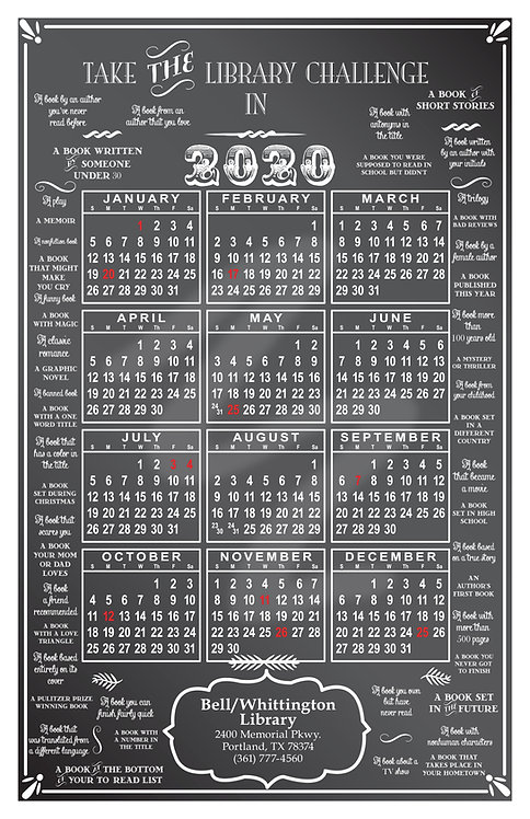 Library Challenge Wall Calendar