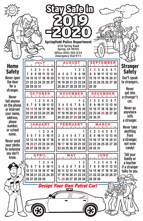 Law Enforcement Coloring Wall Calendar