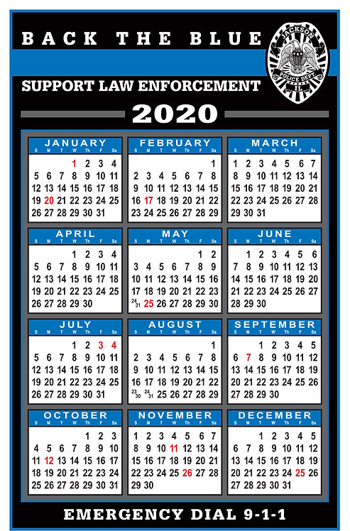 Back The Blue Wall Calendar