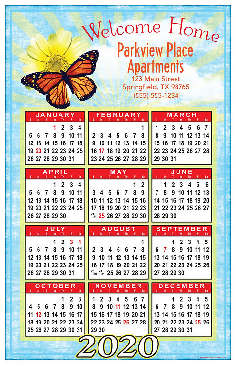 Butterfly Welcome Home Wall Calendar
