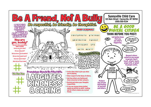 Be A Friend Not A Bully Activity Sheet