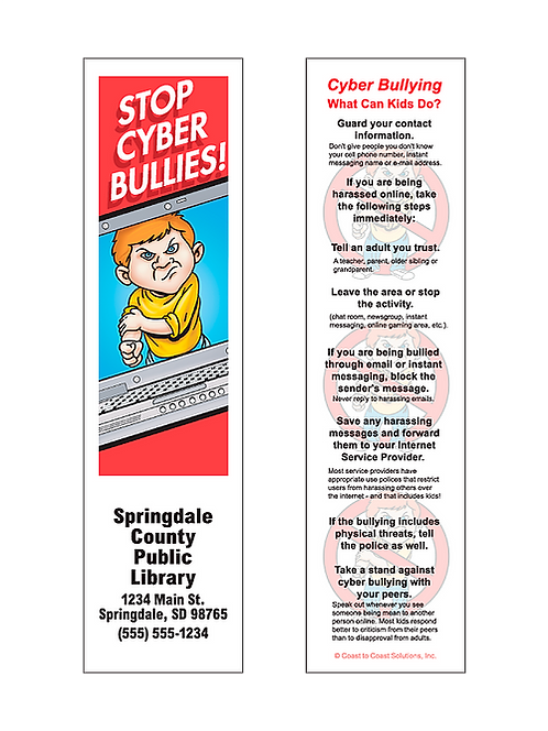 Stop Cyber Bullies! Bookmarks