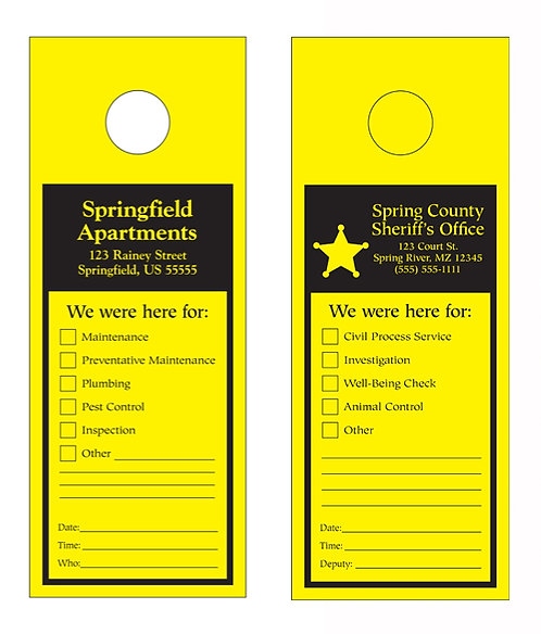Door Hanger (Yellow with Black Imprint ONLY)