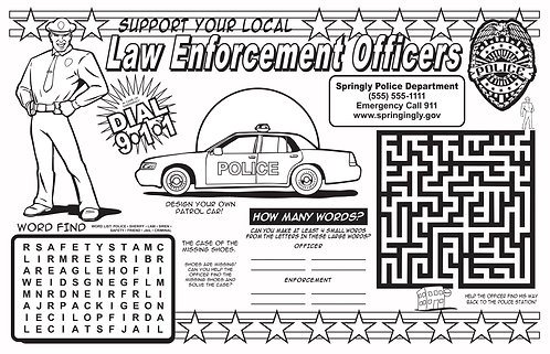 Law Enforcement Coloring & Activity Sheet