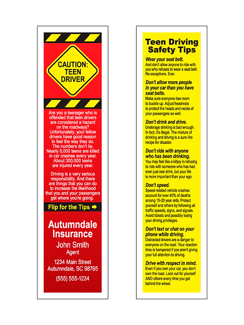 Teen Driving Safety Tips Bookmarks