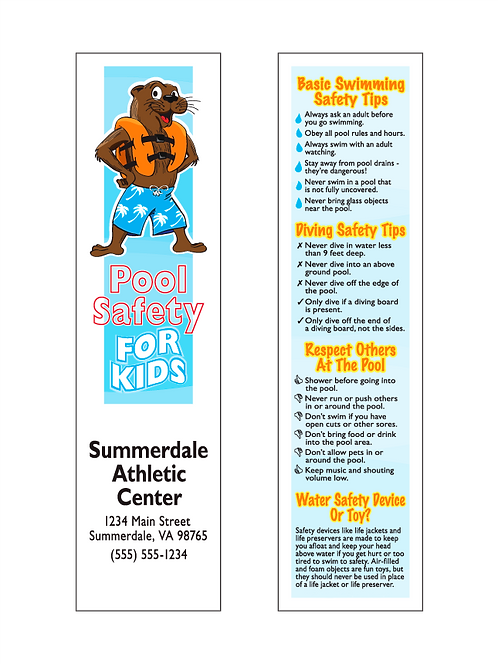 Pool Safety For Kids Bookmarks